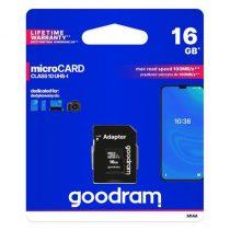 Goodram Microcard Memóriakártya 16 GB micro SD HC UHS-I class 10 SD adapter (M1AA-0160R12)