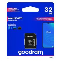 Goodram Microcard Memóriakártya 32 GB micro SD HC UHS-I class 10 SD adapter (M1AA-0320R12)