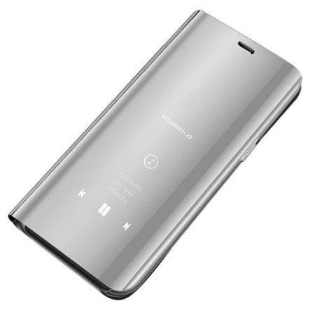Clear View Notesz Tok Mirror Hivásmutató Funkcióval Samsung Galaxy A20e Ezüst