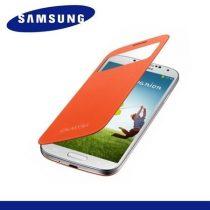 Samsung Galaxy S4 telefonvédő (hívószámkijelzés, S-View Cover) Flip, NARANCSSÁRGA