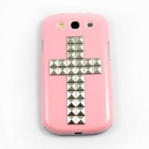 Samsung Galaxy S3 Tok Kereszt Mintával Cross Style Ezüst/Rózsaszín
