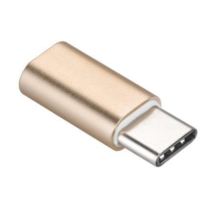 Micro USB - Type C Átalakító Adapter Arany