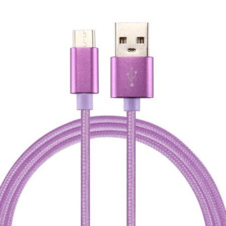 Type-C USB Kábel Woven Series Extra Anyagból ( 3 méteres ) Lila