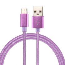 Type-C USB Kábel Woven Series Extra Anyagból ( 0.5 méteres ) Lila