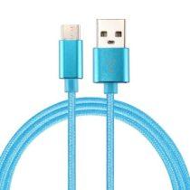 Type-C USB Kábel Woven Series Extra Anyagból ( 2 méteres ) Kék