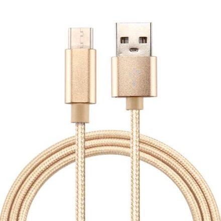 Type-C USB Kábel Woven Series Extra Anyagból ( 2 méteres ) Arany