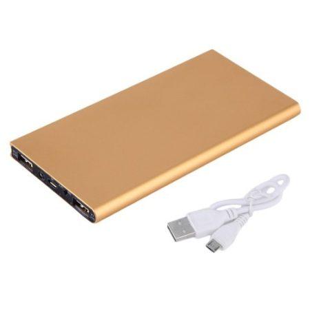 Power Bank - Külső Akkumulátor Dupla USB Port - 20000mAh Zseblámpa funkcióval Arany