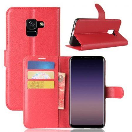Samsung Galaxy A8 (2018) Notesz Tok Kitámasztható Bankkártyatartóval Business Series Piros