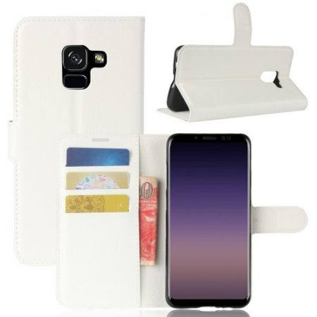 Samsung Galaxy A8 (2018) Notesz Tok Kitámasztható Bankkártyatartóval Business Series Fehér