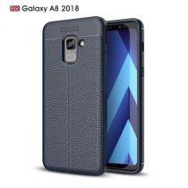 Samsung Galaxy A8 (2018) Szilikon Tok Bőr Mintázattal Sötétkék