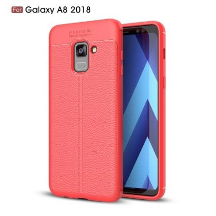 Samsung Galaxy A8 (2018) Szilikon Tok Bőr Mintázattal Piros