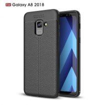 Samsung Galaxy A8 (2018) Szilikon Tok Bőr Mintázattal Fekete