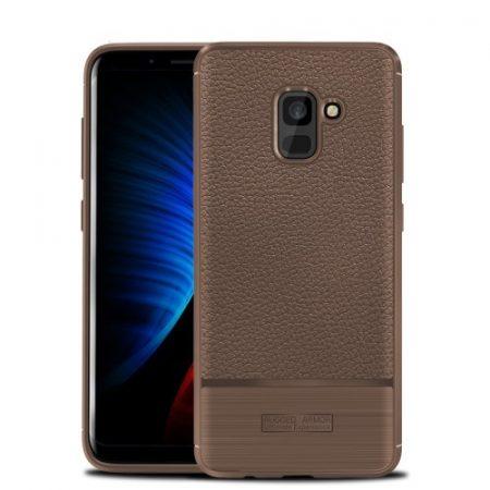 Samsung Galaxy A8 (2018) Tok Szilikon Szálcsiszolt és Bőr Mintázattal Barna