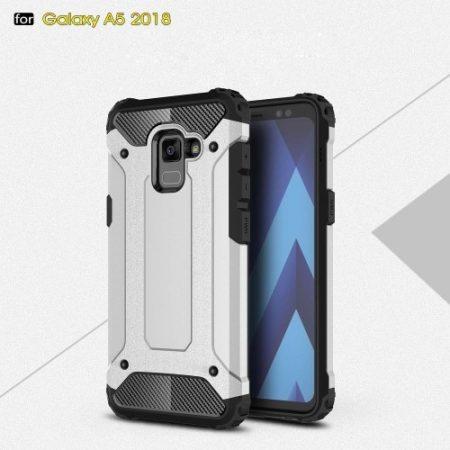 Samsung Galaxy A8 (2018) Armor Tok Ütésálló Kivitel 2in1 Hybrid Ezüst