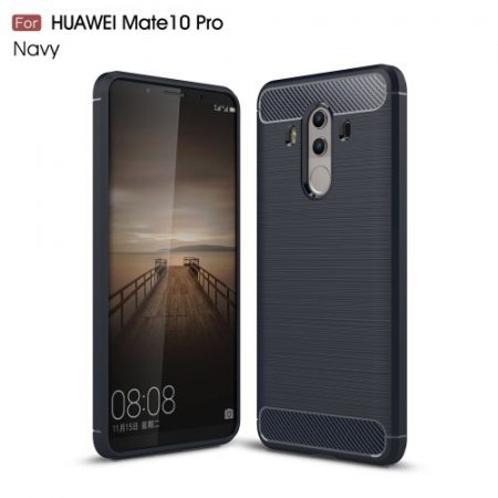 Huawei Mate 10 Pro Szilikon Tok Szálcsiszolt Karbon Mintázattal Sötétkék