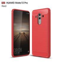 Huawei Mate 10 Pro Szilikon Tok Szálcsiszolt Karbon Mintázattal Piros