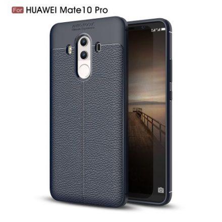 Huawei Mate 10 Pro Tok Szilikon Bőr Mintázattal Sötétkék