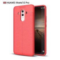 Huawei Mate 10 Pro Tok Szilikon Bőr Mintázattal Piros