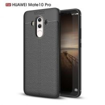 Huawei Mate 10 Pro Tok Szilikon Bőr Mintázattal Fekete