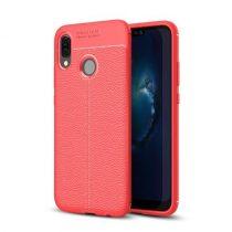 Huawei P20 Lite Szilikon Tok Bőr Mintázattal Piros