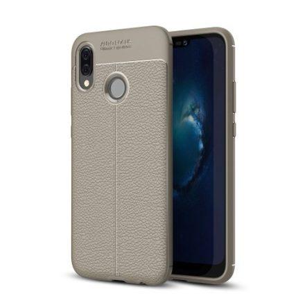Huawei P20 Lite Szilikon Tok Bőr Mintázattal Szürke