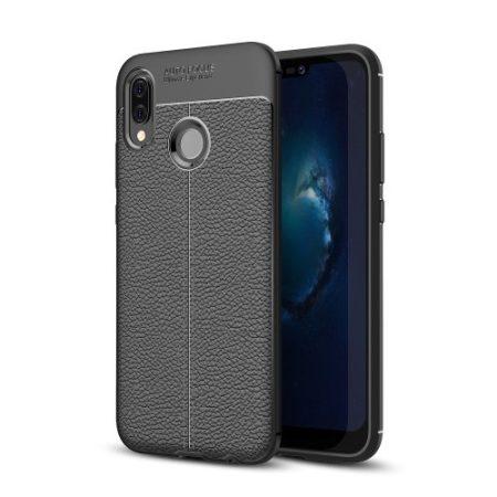 Huawei P20 Lite Szilikon Tok Bőr Mintázattal Fekete
