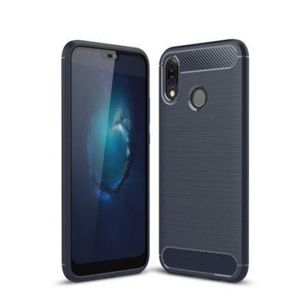 Huawei P20 Lite Tok Szilikon Szálcsiszolt Mintázattal Ütésállókivitel Sötétkék