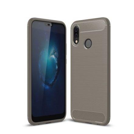 Huawei P20 Lite Tok Szilikon Szálcsiszolt Mintázattal Ütésállókivitel Szürke