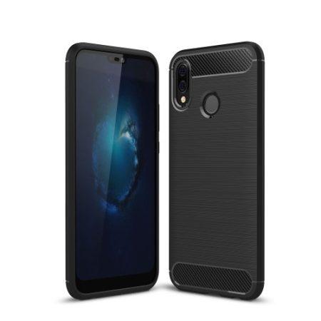 Huawei P20 Lite Tok Szilikon Szálcsiszolt Mintázattal Ütésállókivitel Fekete