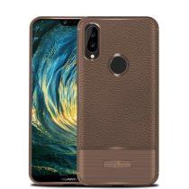 Huawei P20 Lite Tok Szilikon Szálcsiszolt-Bőr Mintázattal Barna
