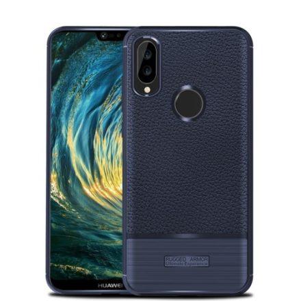 Huawei P20 Lite Tok Szilikon Szálcsiszolt-Bőr Mintázattal Sötétkék