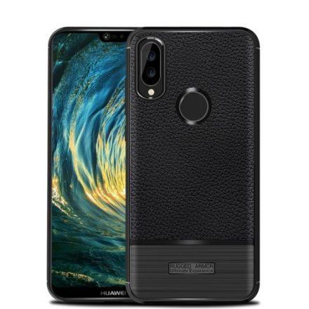 Huawei P20 Lite Tok Szilikon Szálcsiszolt-Bőr Mintázattal Fekete