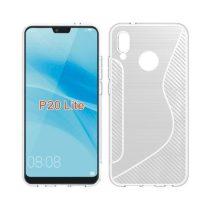 Huawei P20 Lite Tok Szilikon S-Line - Szálcsiszolt Minta Áttetsző