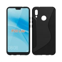Huawei P20 Lite Tok Szilikon S-Line - Szálcsiszolt Minta Fekete