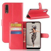 Huawei P20 Notesz Tok Business Series Kitámasztható - Bankkártyatartóval Piros