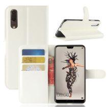 Huawei P20 Notesz Tok Business Series Kitámasztható - Bankkártyatartóval Fehér