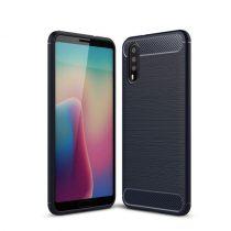 Huawei P20 Tok Szilikon Ütésállókivitel Karbon Mintázattal Sötétkék