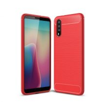 Huawei P20 Tok Szilikon Ütésállókivitel Karbon Mintázattal Piros