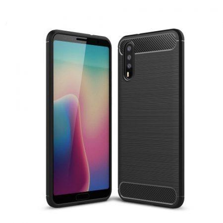 Huawei P20 Tok Szilikon Ütésállókivitel Karbon Mintázattal Fekete