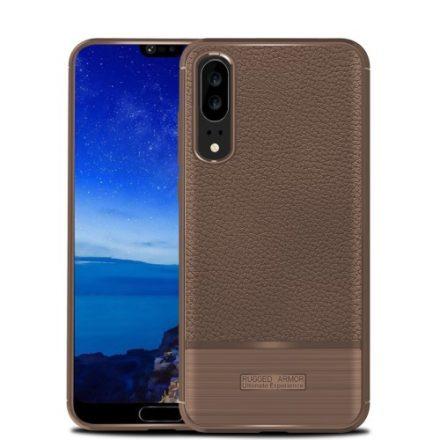 Huawei P20 Tok Szilikon Bőr-Szálcsiszolt Mintázattal Barna