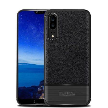 Huawei P20 Tok Szilikon Bőr-Szálcsiszolt Mintázattal Fekete