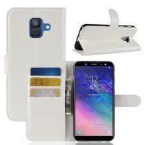 Samsung Galaxy A6 (2018) Notesz Tok Business Series Kitámasztható Bankkártyatartóval Fehér