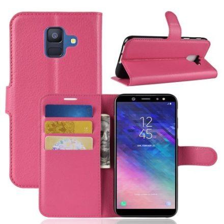 Samsung Galaxy A6 (2018) Notesz Tok Business Series Kitámasztható Bankkártyatartóval Pink