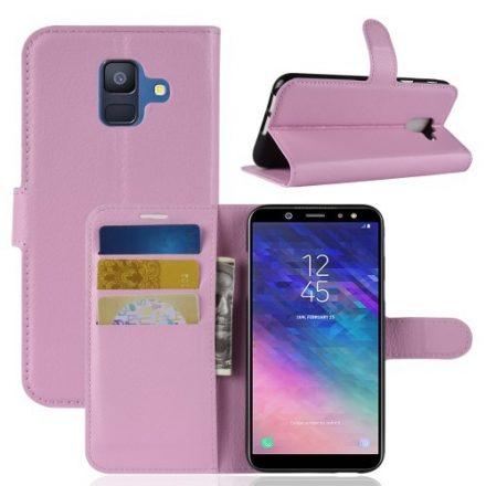 Samsung Galaxy A6 (2018) Notesz Tok Business Series Kitámasztható Bankkártyatartóval Rózsaszín
