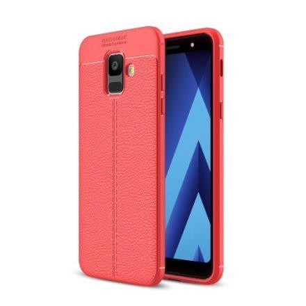 Samsung Galaxy A6 (2018) Szilikon Tok Bőrmintázattal TPU Prémium Piros