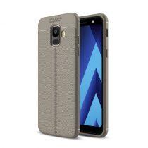Samsung Galaxy A6 (2018) Szilikon Tok Bőrmintázattal TPU Prémium Szürke