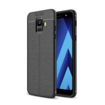 Samsung Galaxy A6 (2018) Szilikon Tok Bőrmintázattal TPU Prémium Fekete