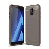 Samsung Galaxy A6 (2018) Szilikon Tok Ütésállókivitel Karbon Mintázattal Szürke