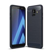 Samsung Galaxy A6 (2018) Szilikon Tok Ütésállókivitel Karbon Mintázattal Sötétkék