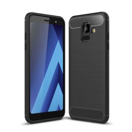 Samsung Galaxy A6 (2018) Szilikon Tok Ütésállókivitel Karbon Mintázattal Fekete